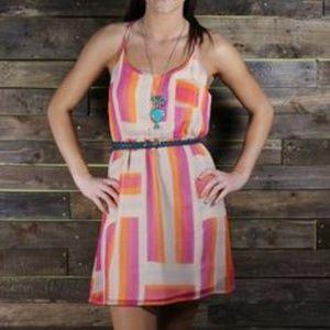 ROXY | Pink Ending Never Chiffon Mini Dress M